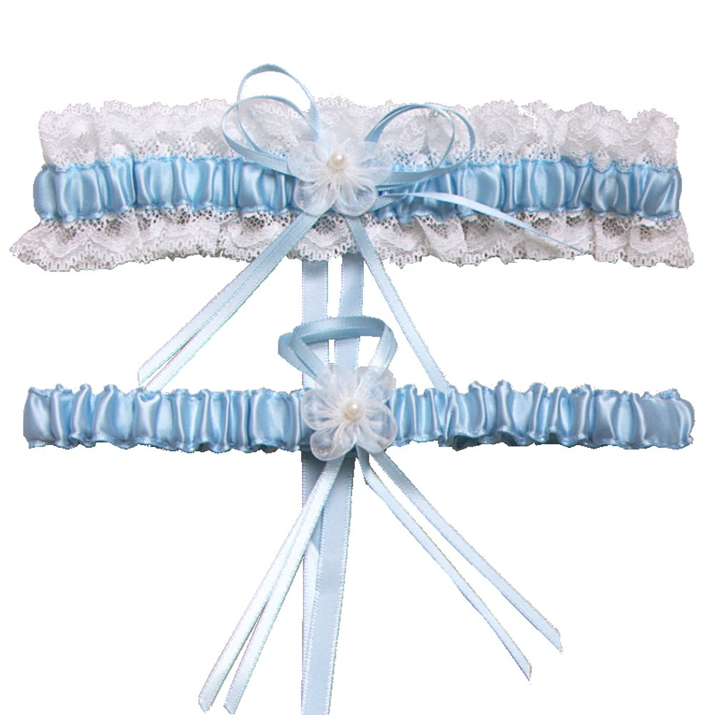 Rimobul Lace Wedding Garters with Toss Away - Set of 2 (Light Blue) product