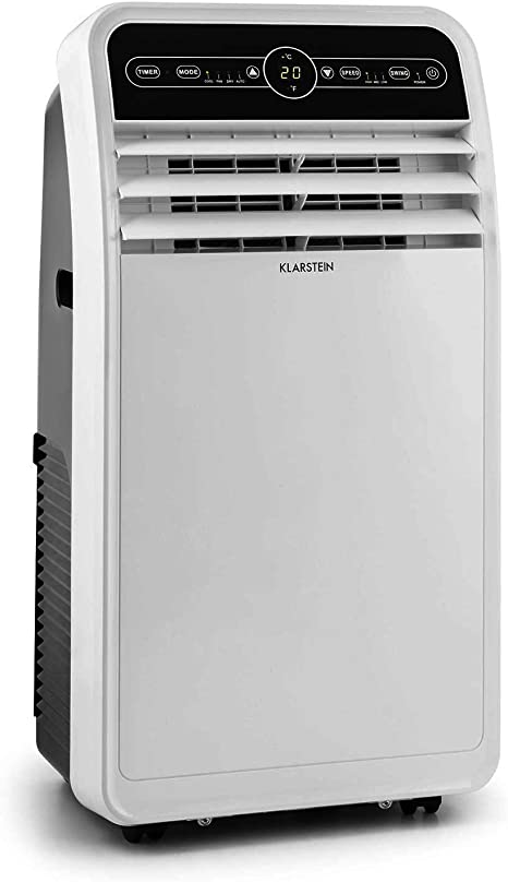 1,050 Watts Energy Class A Klarstein Metrobreeze 9 New York City Max .: 62 dB White Air Conditioner 9000 BTU // 2.6 kW Incl LED Display Oscillation Timer Window Sealing Set /& Exhaust Pipe