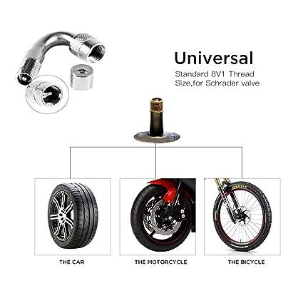 Hihey Neumáticos para Coche, Motocicleta, latón, 45/90/135 Grados, Extensible, Manguera Hinchable, 135 °, Color Plateado