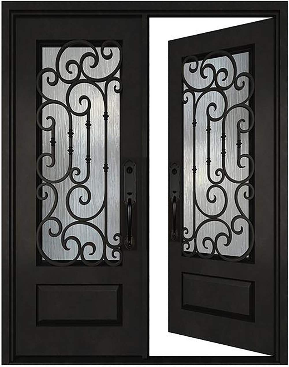 30X30X80 Wrought Iron Double Door Exterior Entry Pre-Finished Black Door Left Hand in-Swing Prehung Door Glass Panels Opened Ready to Install