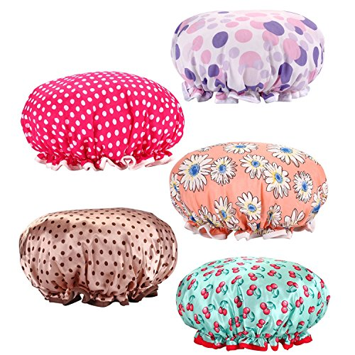 Price comparison product image Shower Cap, 5 Pack Waterproof Lined Shower Cap/Bath Hair Cap Lady Salon Hat