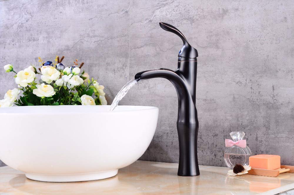 A Decorry Waterfall Black Brushed Bathroom Faucet High Black Sink Blender Brushed Sink Faucet Sink Mixer B508, A