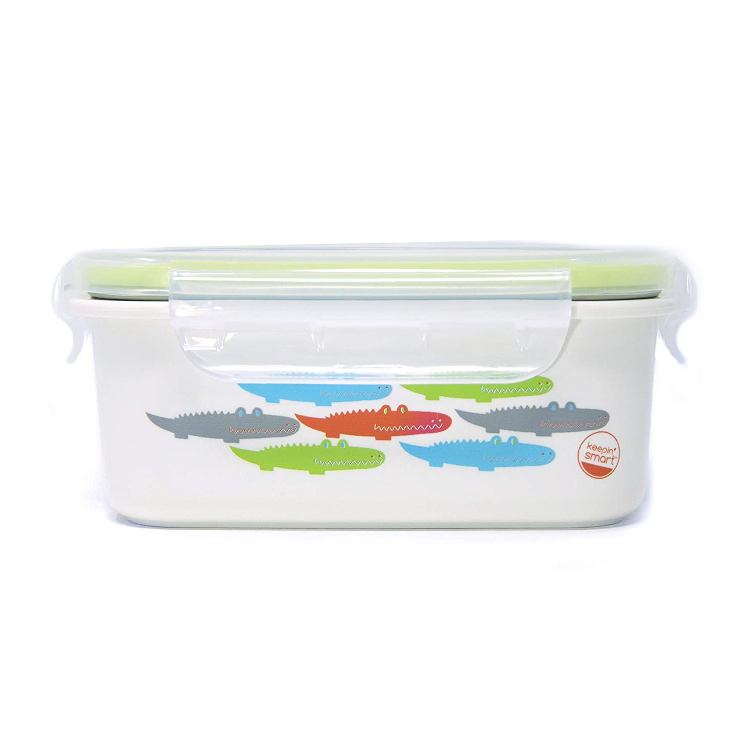 Innobaby Keepin' Fresh Stainless Bento Snack or Lunch Box with Lid for Kids and Toddlers 15 oz, BPA Free Food Storage, Green Alligator