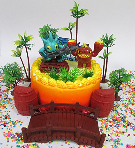 SKYLANDERS Themed Birthday Cake Topper Set Featuring Skylander Figures and Decorative Themed Accessories (Skylanders Accessories)