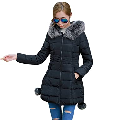 e9bbbb4fc54a Image Unavailable. Image not available for. Colour  NiSeng Women s Long  Slim Fit Faux Fur Hooded Down Coat Zip up Padded Jacket Parka Winter