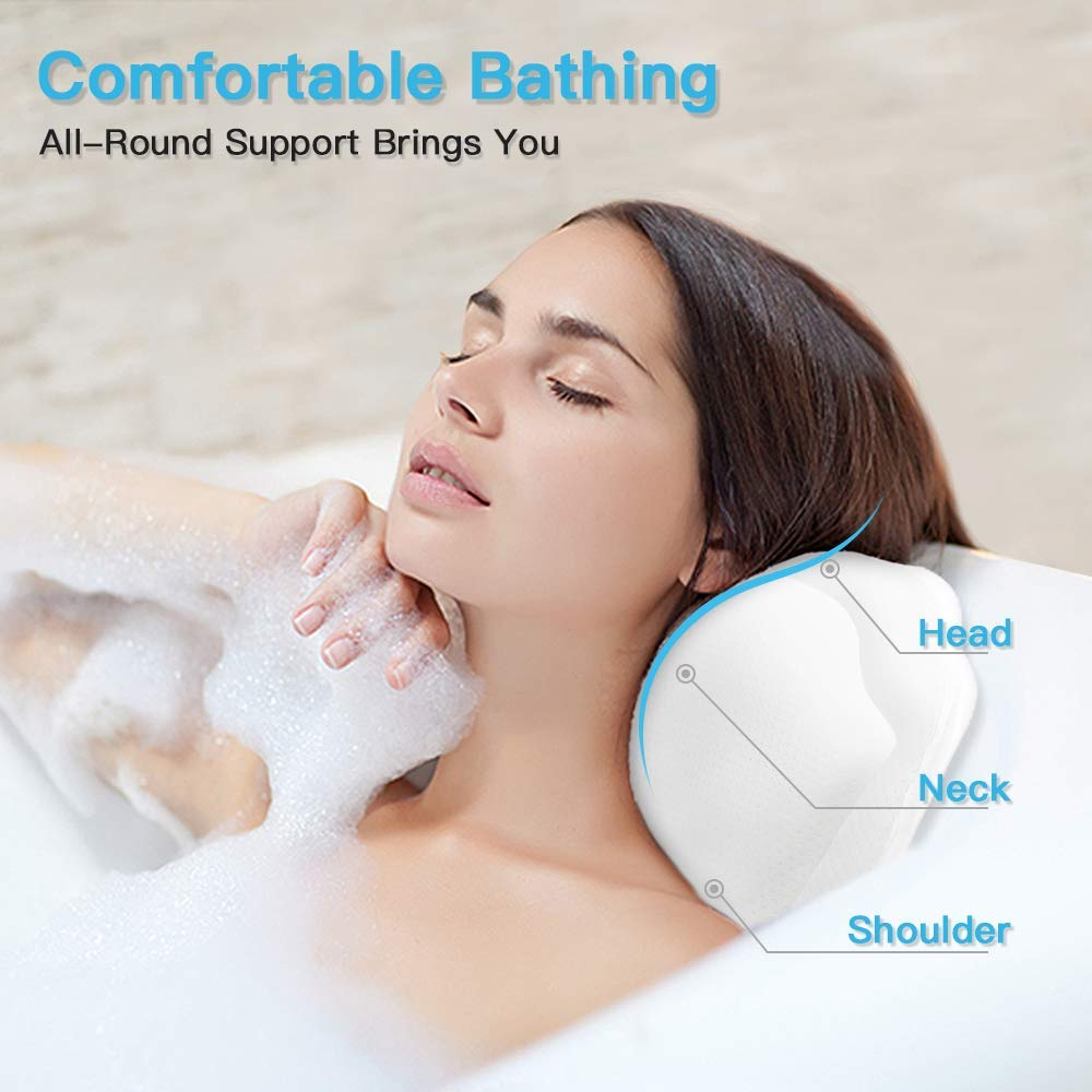 Beautybaby Anti-mold Bathtub Spa Pillow[2020 Upgraded] Bath Pillows for tub, with Non-Slip 8 Large Strong Suction Cups, Free Machine Washable Bag : Beauty
