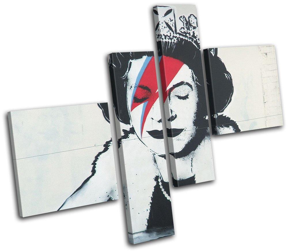 太字ブロックデザイン – グラフィティQueen Pop Banksy Streetマルチキャンバスアートプリントボックスフレーム壁吊り下げ – Hand Made In The UK – Framed and ready to hang (C) 150x125cm 13-9045(00B)-MP02-LO-C (C) 150x125cm  B073ZDGZQ6