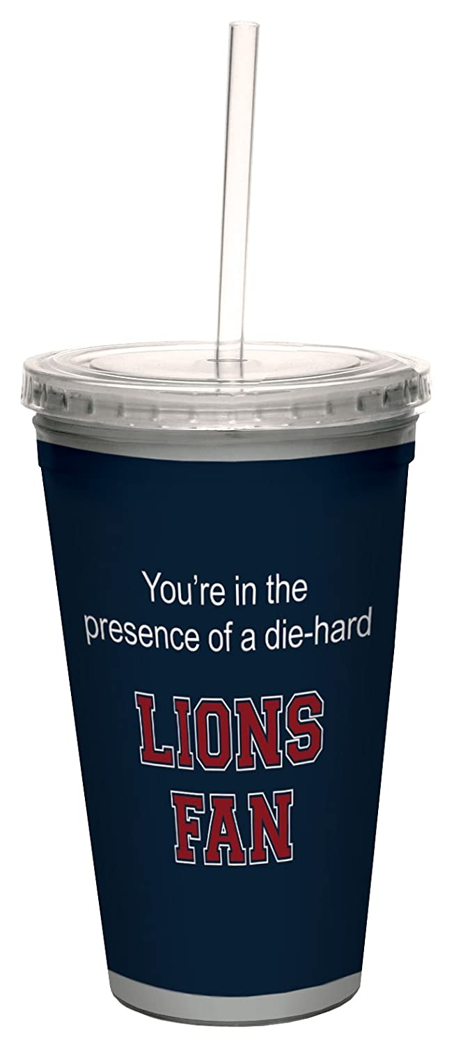 16-Ounce Tree-Free Greetings cc34769 Lions College Basketball Artful Traveler Double-Walled Cool Cup with Reusable Straw