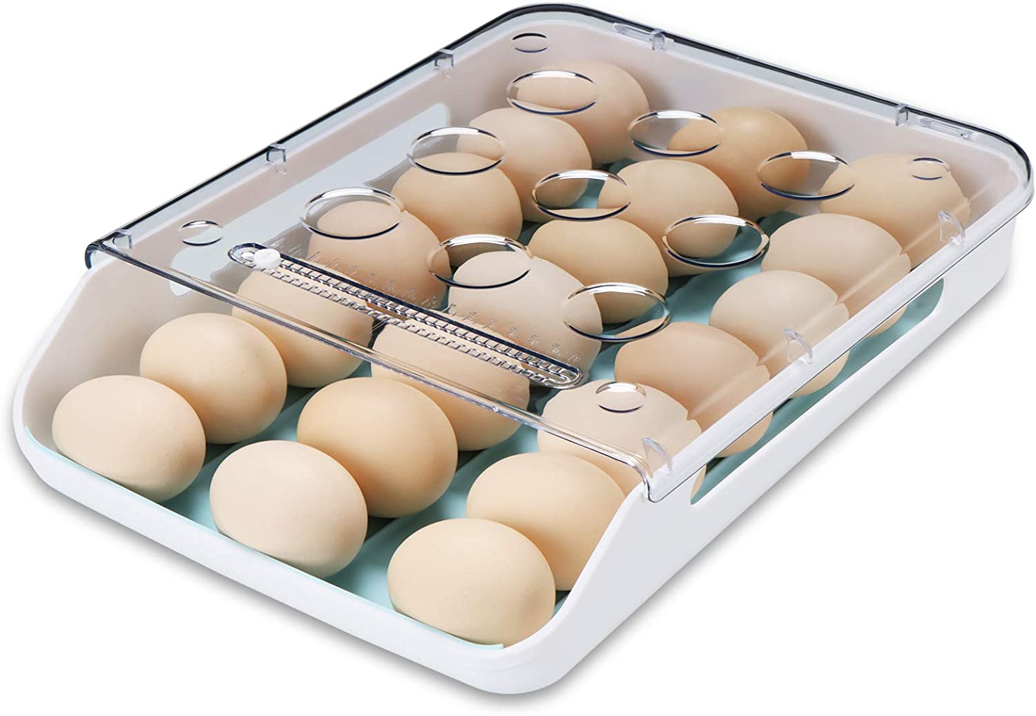 Qmpro Egg Holder Auto Scrolling Down for Refrigerator, Smart Stackable Antislip Deviled Egg Tray Food Container with Lid and Handle,Clear Plastic 21 Eggs (Blue Groove)