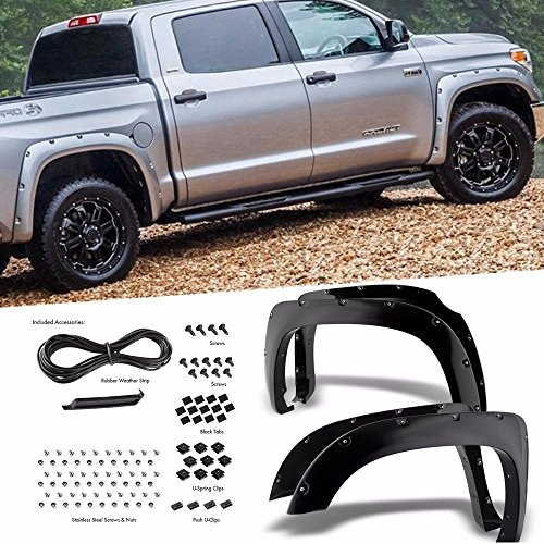 Flare Chino (Yumy 4pcs Smooth Black Paintable Pocket Riveted Fit 2014-2018 Toyota Tundra Bolt-On Style Fender Flares Pair)