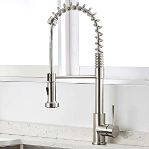VAPSINT Commercial Brushed Nickel Solid Stainless Steel Pulldown High-Arc Kitchen Faucet, Kitchen Sink Faucets with Pull-out Sprayer