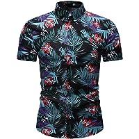 Exteren 2019 New Men's Casual Button Down Shirts Hawaiian Short Sleeves Printed Shirts Aloha Beach Summer Blouse