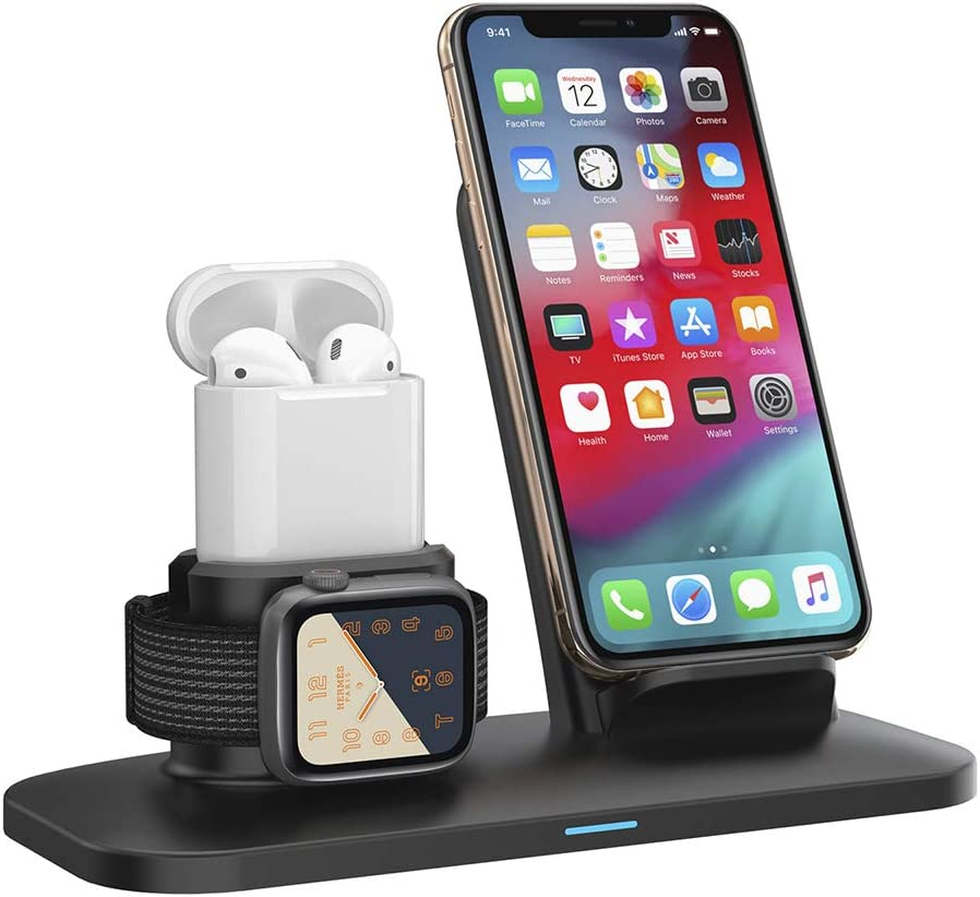 3 in 1 Wireless Charger Boost Up Fast Wireless Charging Station Stand Dock for iPhone Apple Watch Air Pods Fast Wireless Charging Compatible with Samsung iPhone 11PRO//X/XS/XR/XS