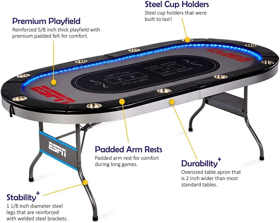 Amazon Com Espn 10 Player Premium Poker Table With Led Lights