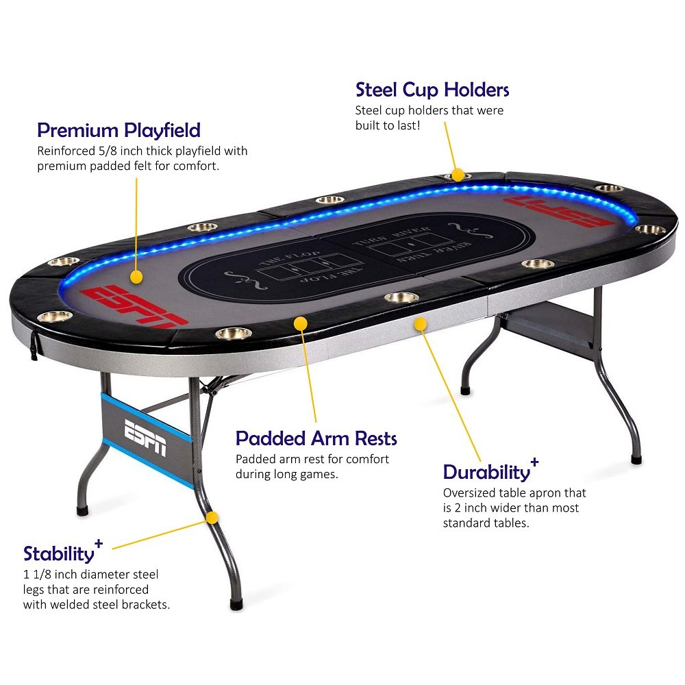 Amazon.com : ESPN 10 Player Premium Poker Table With LED Lights ...