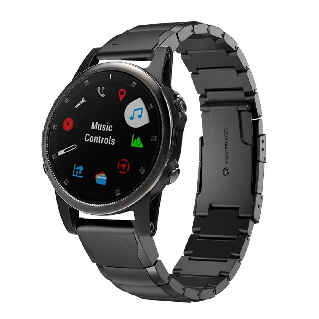 Watchband,Saying For Garmin Fenix 5S Plus Luxury Stainless Steel Quick Release Easy Fit Wirstband Sturdy Durable Concise Vogue Watch (Black)