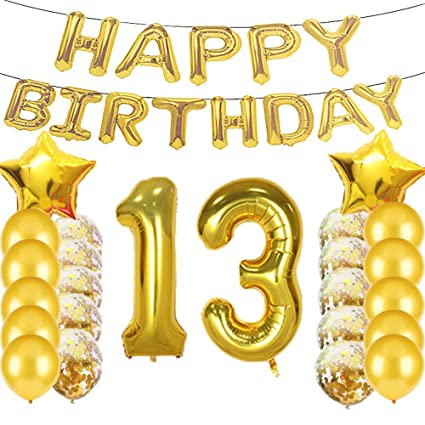 Sweet 13th Birthday Decorations Party SuppliesGold Number 13 Balloons13th Foil Mylar Balloons