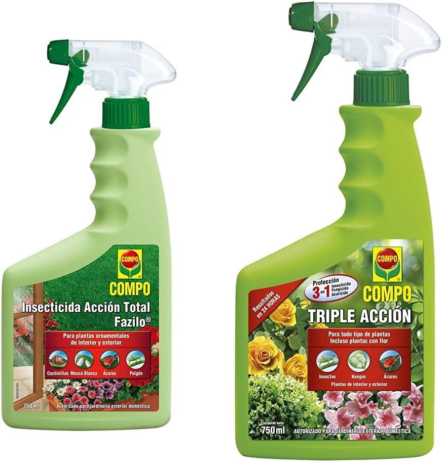 Compo Fazilo Insecticida Acción Total, Para Plantas Ornamentales De Interior Y Exterior, Envase Pulverizador + Triple Acción Protección Contra Insectos, Hongos Y Ácaros