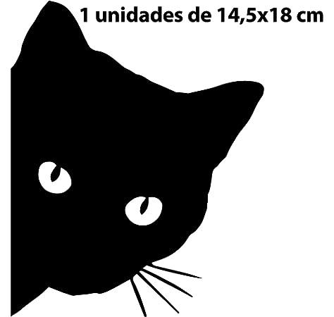 Coches Tuning 10 x 20 cm Paredes caravanas mural stickers Pegatina de Gato con Tres Gatos simp/áticos Motos Muebles Ventanas Negro o Blanco 10X20 Bianco para Puertas