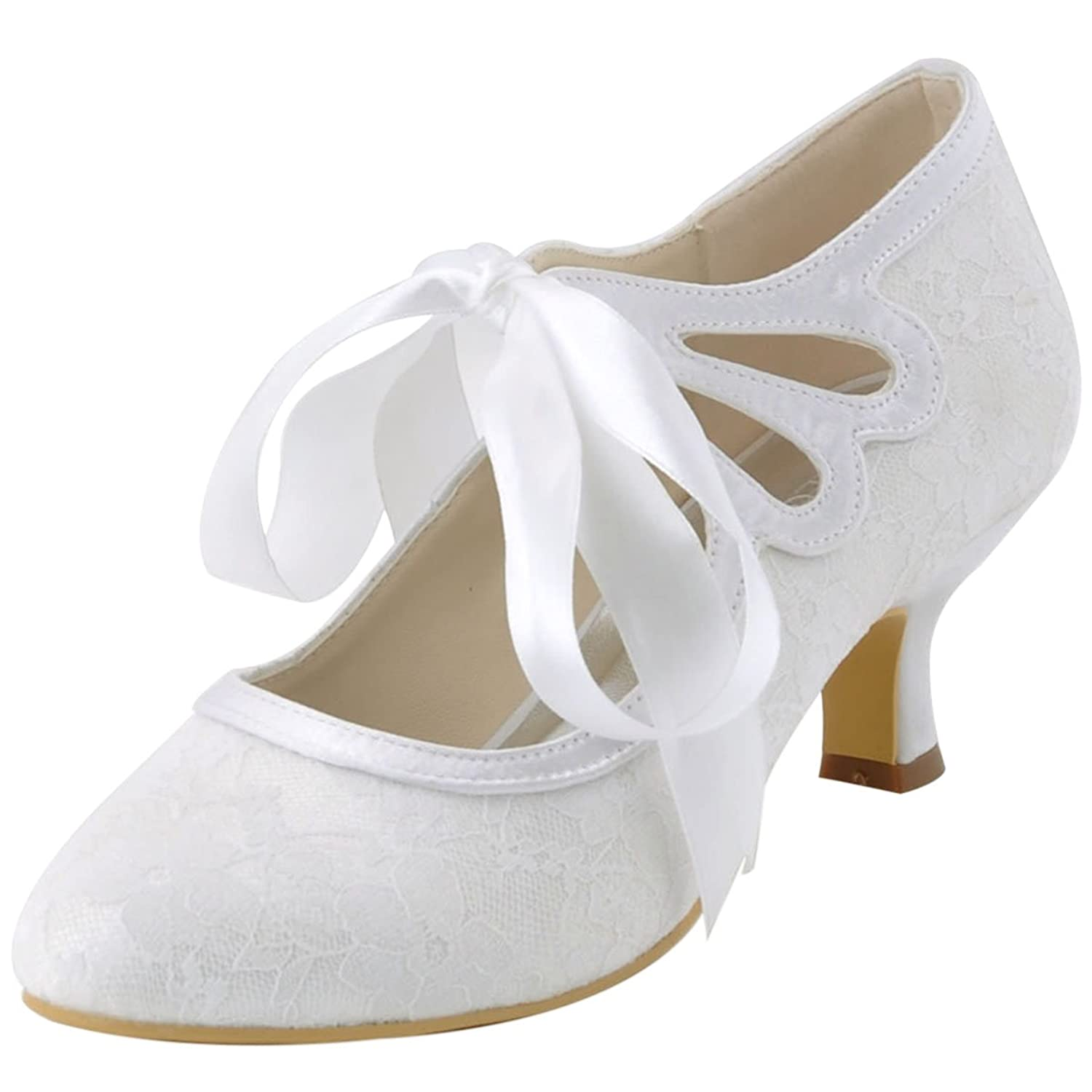 Vintage Heels, Retro Heels, Pumps, Shoes ElegantPark HC1521 Womens Mary Jane Closed Toe Low Heel Pumps Lace Wedding Dress Shoes $48.95 AT vintagedancer.com