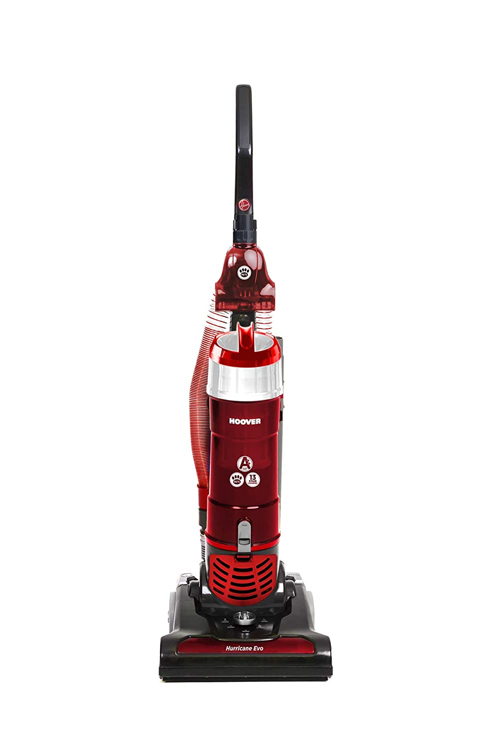Hoover Hurricane Evo TH31HO01 Bagless Pets Upright Vacuum Cleaner, Black & Red, A++ Energy Rated [Energy Class A++] TH31 HO01
