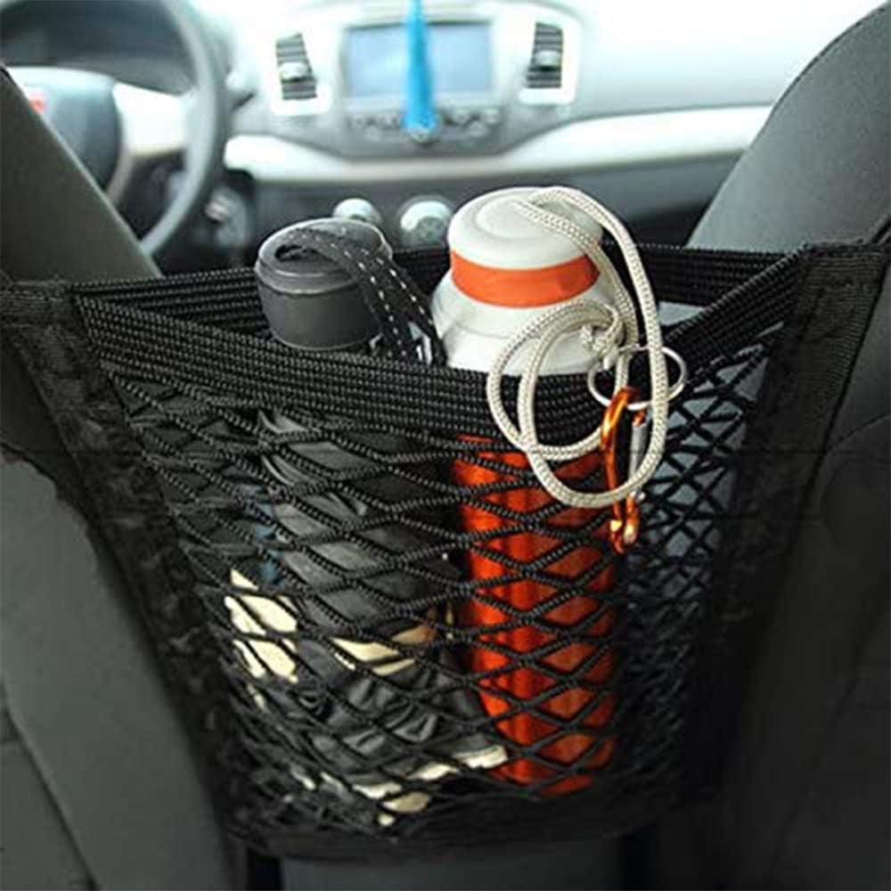 Car Mesh Net Organizer Storage Universal Automotive Cargo Nets Trunk Motorhome Black 2 Pieces Car Seat Storage net Bag Polypropylene Universal with 2 D-Shaped Hooks Car Seat Net Pouch for Car SUV