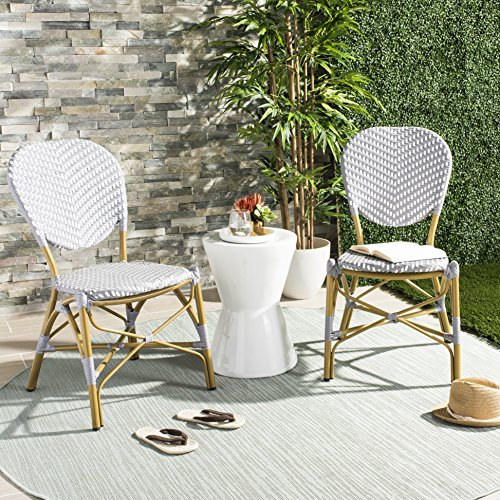Safavieh PAT4010B-SET2 Outdoor Collection Lisbeth Grey and White French Bistro Stacking Side - Chair Stacking Cafe
