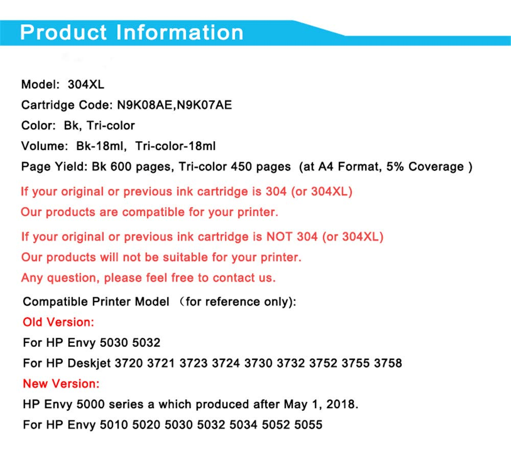 Amazon.com: JJNGJ 304XL - Cartucho de tinta para impresora ...