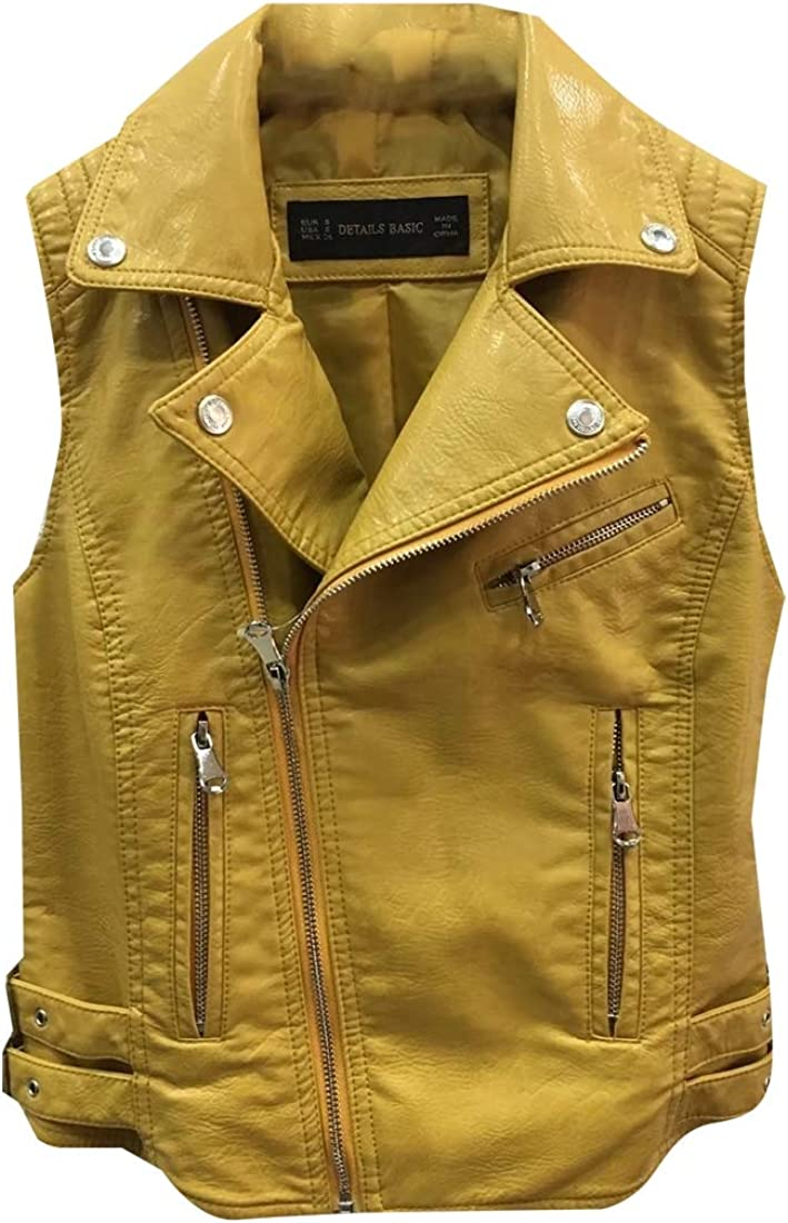 dahuo Womens Fashion Motorcycle Biker Leather Vest Slant Zip with Pockets