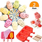 (Pack of 2) Sakolla 3 Cavities Cute Bunny Silicone Ice Pop Mold Ice Cream Bar Mold Popsicle Molds DIY Ice Cream Maker Silicone Jelly Chocolate Candy Soap Molds