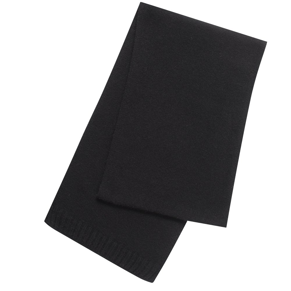 Pure Cashmere Plain Scarf Made in Scotland (Black (7))