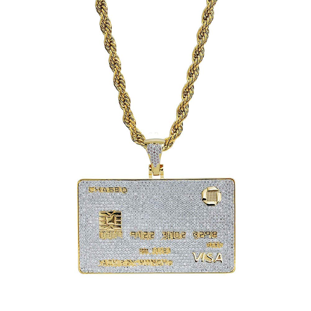 TOPGRILLZ 14K Personalized Iced Out Credit Card Pendant Necklace Chain for Men Charm Gifts Hip Hop Jewelry (Gold)