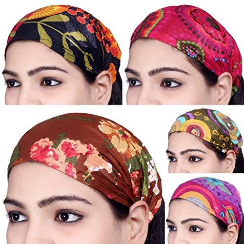 Sarjana Handicrafts Lot 10 Pieces Womens Mens Cotton Headband Printed Hairband Bandana Wrap Band (Multicolored) (Multi Imported Casual Colored)