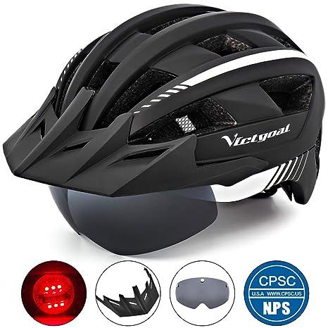 70b0c113 VICTGOAL Bike Helmet for Men Women with Led Light Detachable Magnetic  Goggles Removable Sun Visor Mountain