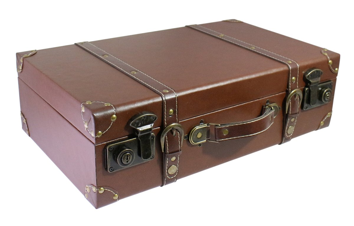 18.7'' Vintage Looking, Large Wooden Faux Leather Suitcase with Handle for│Home Decor│Studio Photo Booth Props│Showcase Display - Brown