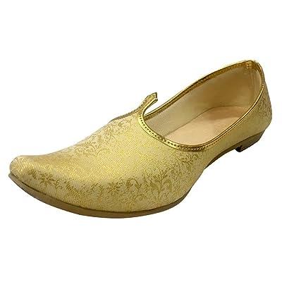 Step n Style Mens Cream Gold Bridal Shoes Wedding Jutti Sherwani Jutti Ethnic Jutti Indian Juti | Loafers & Slip-Ons