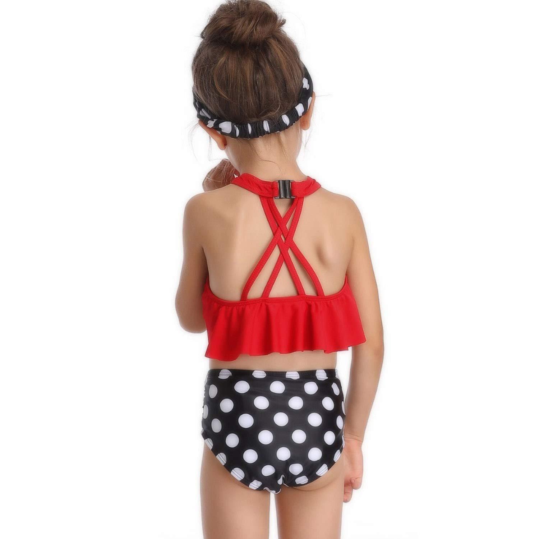 Girls Plaid Off Shoulder Flounces Polka Dot Split Bikini Swimsuit Brazilian Plavky Tankini Beach Wear Bathsuit
