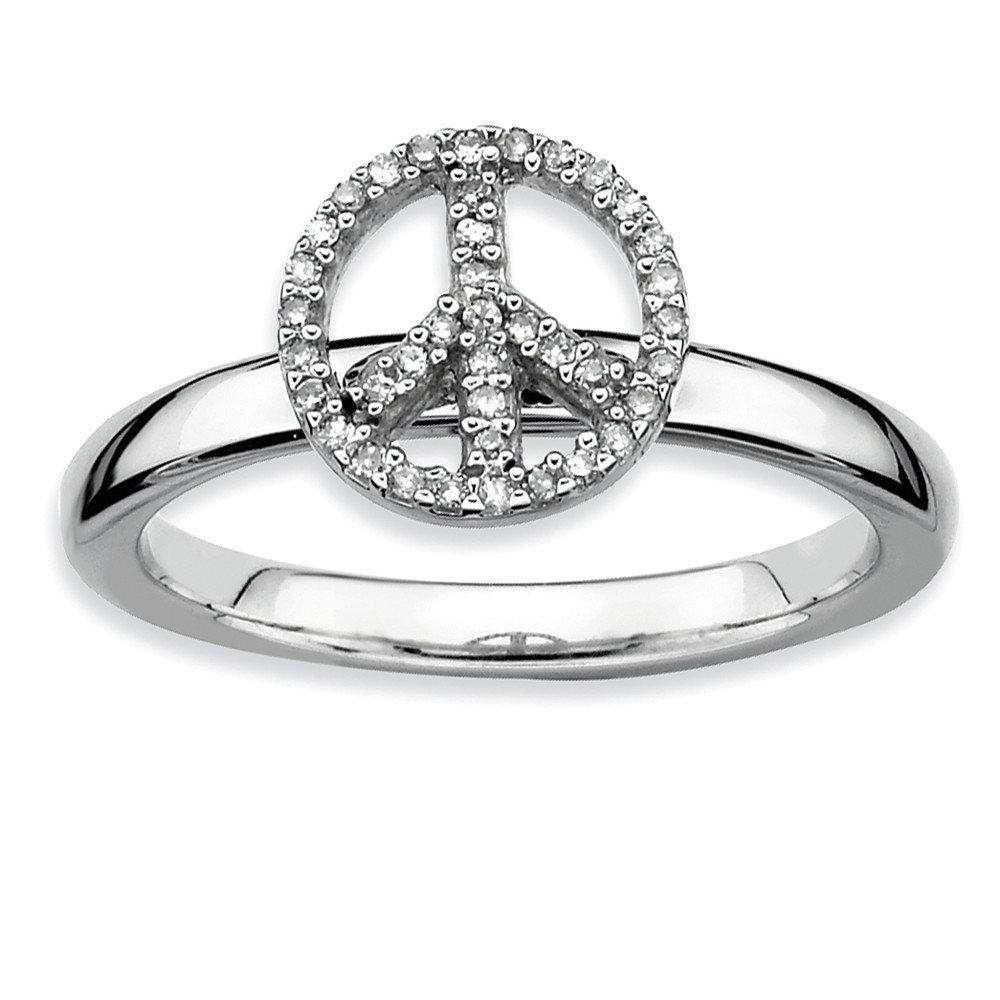 Sterling Silver Stackable Expressions Peace Symbol Diamond Ring Size 7