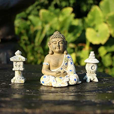 Micro Paisaje Meditación Decoración De Estatua De Buda Adornos De Pagoda Japonesa para Crear Un Jardín Zen,B: Amazon.es: Hogar