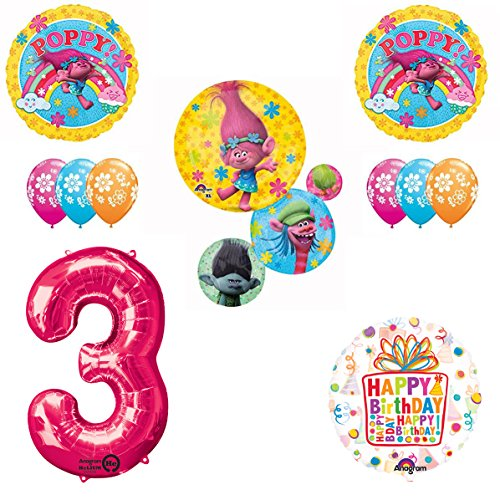 TROLLS Movie 3rd Happy Birthday Party Balloons Decoration Supplies Poppy Branch Movie