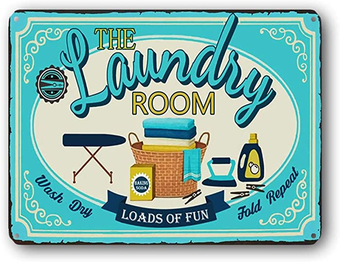 Goutoports Laundry Room Vintage Metal Sign Laundry Room Blue Decorative Signs Wash Room Home Decor Art Signs 7.9x11.8 Inch
