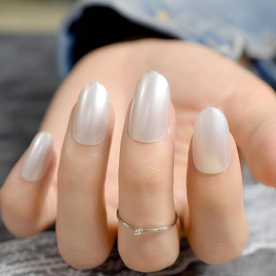 EchiQ - uñas postizas de perlas blancas y brillantes, pequeñas y redondas, para manicura, acrílico, gel UV, decoración de uñas: Amazon.es: Belleza