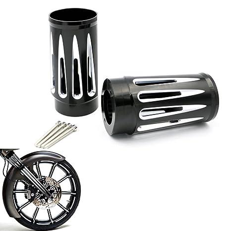 Black Deep Cut Billet Aluminum Fork Boot Slider Cover For Harley Davidson Touring Models 1984-2013