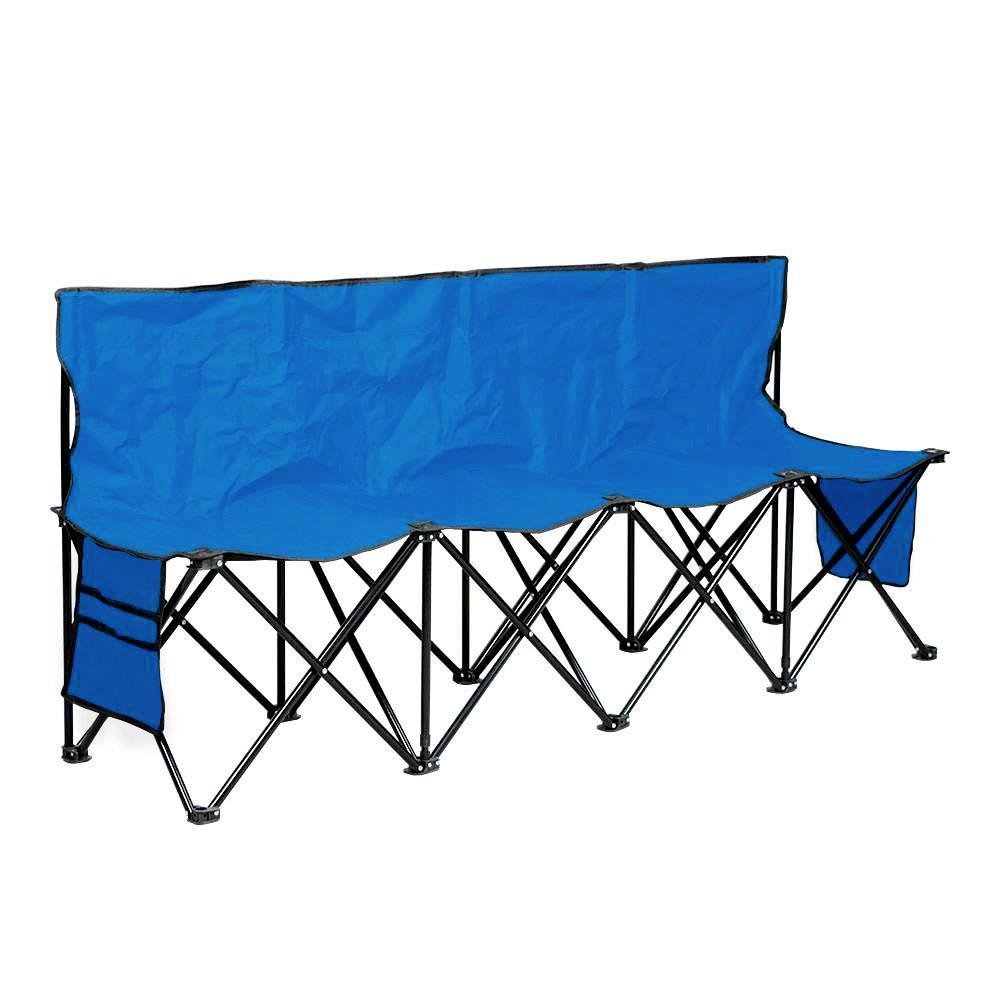 Yaheetechポータブル4 Seatsスポーツベンチsitsチームスポーツサイドラインベンチアウトドア防水W/Sideバッグ& Back、ブラック/ブルー B07D26FTGJ ブルー