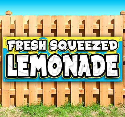 Fresh Squeezed Lemonade 13 oz Heavy Duty Vinyl Banner Sign with Metal Grommets, New, Store, Advertising, Flag, (Many Sizes Available)