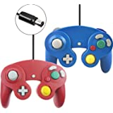 Wired Gamecube Controller for Wii Game Gube Console (Red and Blue,2 Packs)