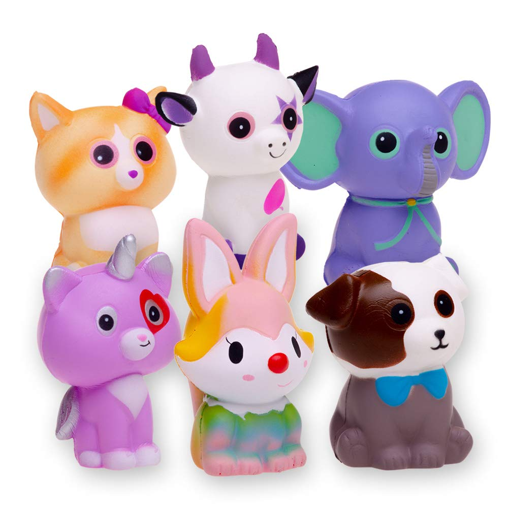FORTON Kawaii Slow Rising Squishy Toys Animals Unicorn Cat Dog Cow Fox Elephant Squishies Pack of 6