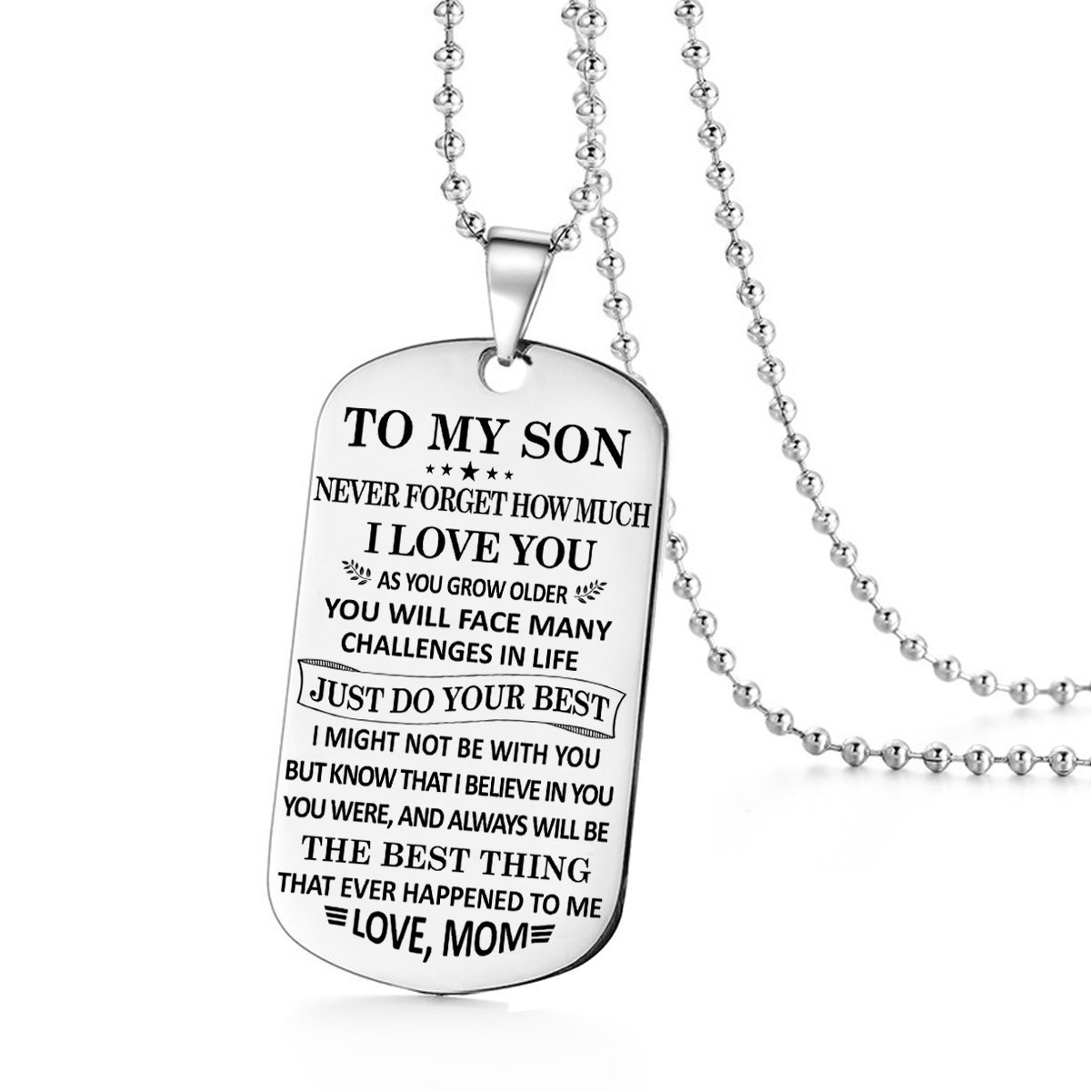 To My Son Just Do Your Best Love Mom Dog Tag Military Air Force Navy Coast Guard Necklace Ball Chain Gift for Best Son Birthday Graduation Stainless Steel