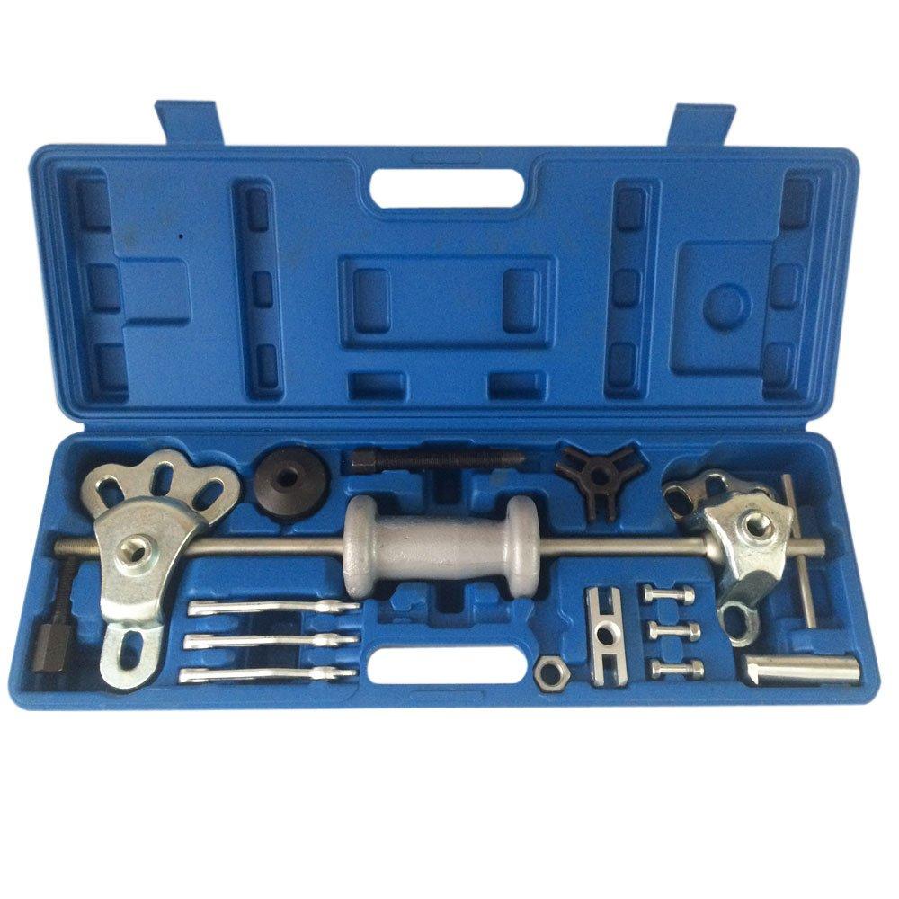 17pc 9 Way Slide Hammer Axle Bearing Dent Hub 2 3 Internal External Gear Puller Tool Set W/Case