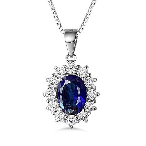 MASOP Boucles d'Oreilles Pendantes Princesse Diana Kate Middleton Argent S925 Saphir Ovale